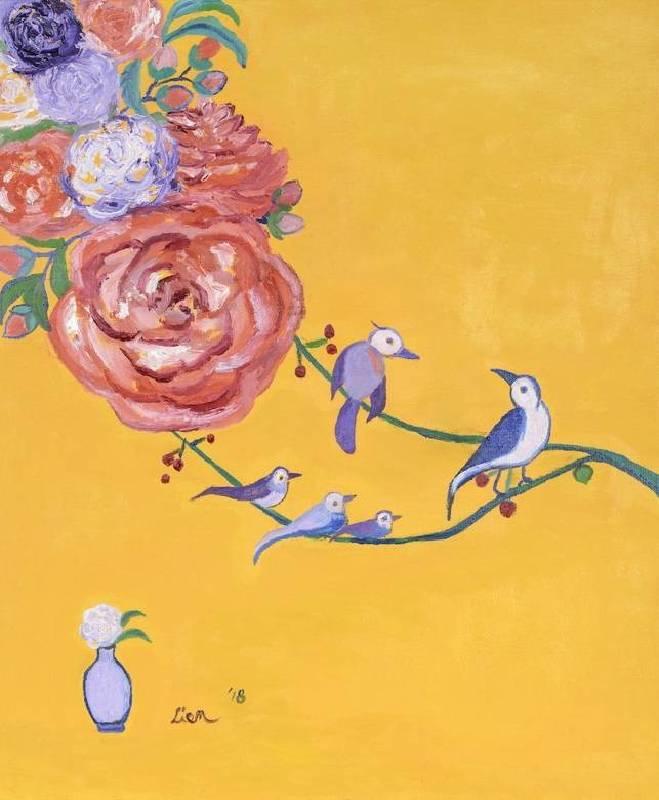 謝宏蓮,愛的奇蹟,2018,油彩,畫布,45.5 x 38 cm。