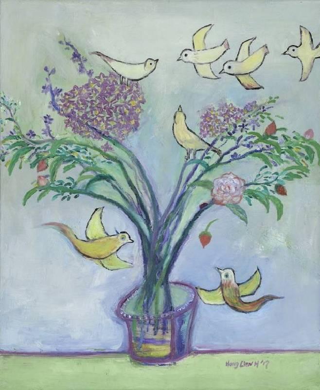 謝宏蓮,慢慢來,2017,油彩,畫布,60.5 x 50 cm。