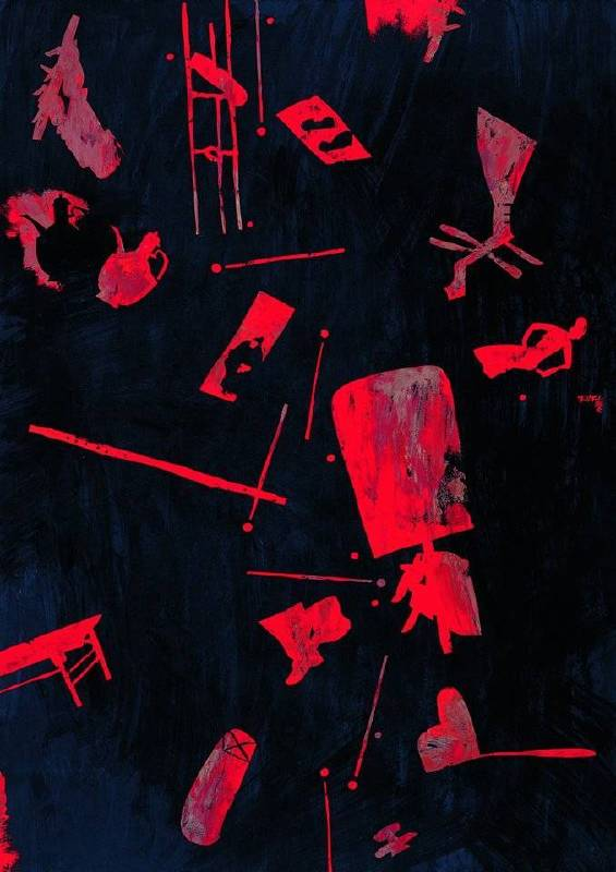 王懷慶,Wang Huaiqing,夜宴圖(之四), Night Revel (Han Xizai's Night Revel Series – 4),2006,油彩‧畫布,Oil on canvas 210 × 150 cm