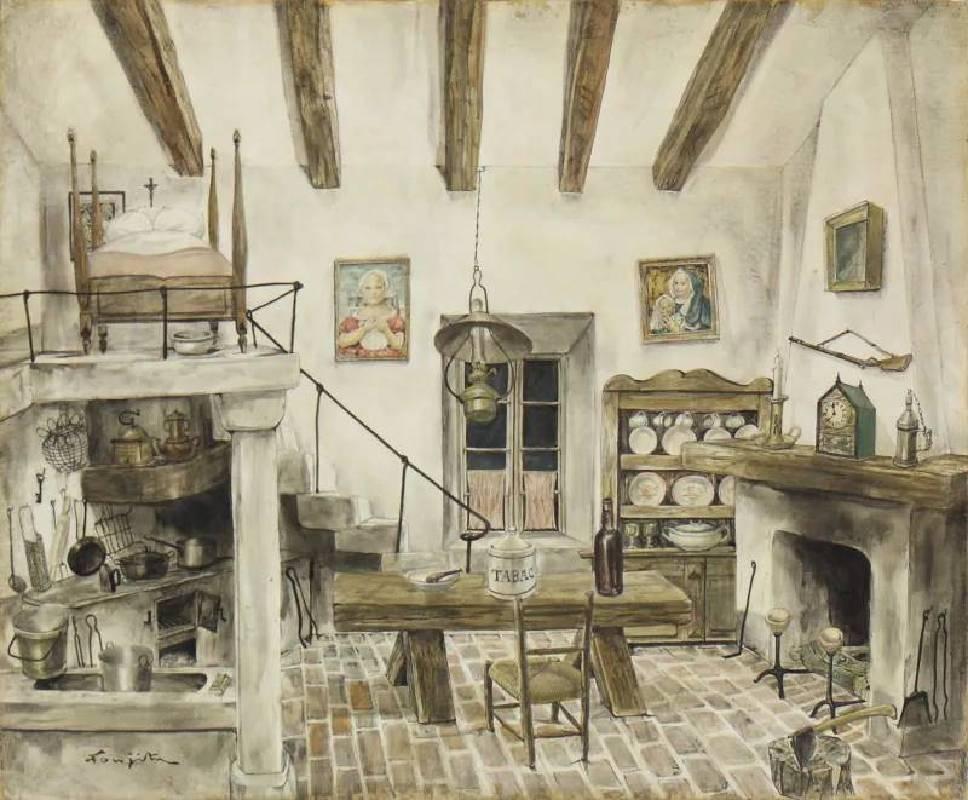 Léonard Tsuguharu Foujita, Interior(Studio), 1950, oil on board, 45.5 x 38 cm