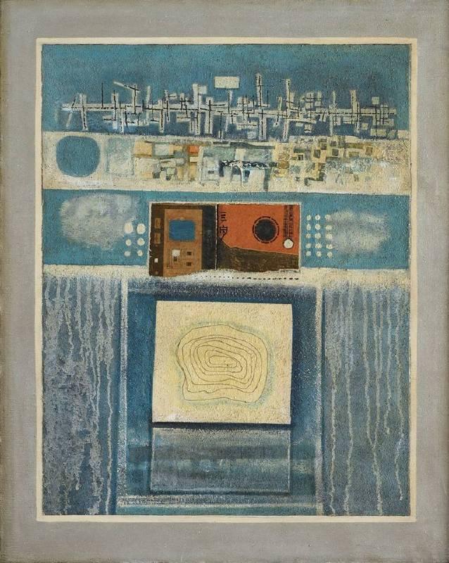 鍾泗濱  藍色構圖  1974  綜合媒材畫布 101x81cm  CHEONG Soo Pieng  Blue Composition  1974 Mixed media on canvas  101x81cm