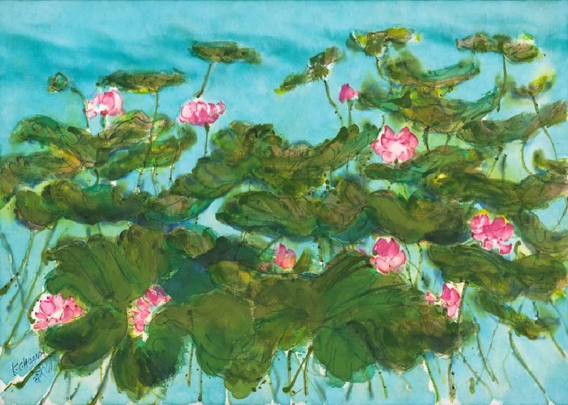 黃歌川,荷花嬌欲語,73x102cm ,2005。(多媒材)