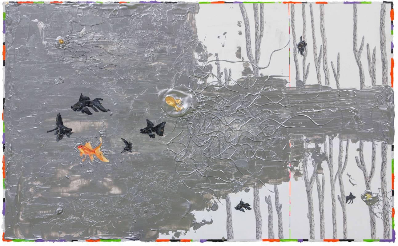 無限之環 Möbiusband 2018 89.5x146cm 壓克力、炭、金箔、畫布 Acrylic, charcoal, gold foil on canvas.jpg