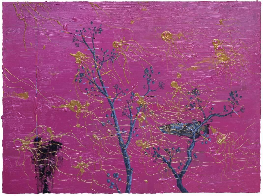 藏迷 Hide and Seek 2018 97x130cm 壓克力、炭、金箔、畫布 Acrylic, charcoal, gold foil on canvas