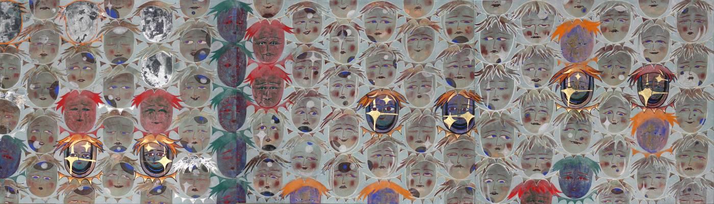 郭雅倢|LOOK!|楮皮紙、礦物顏料、金泥雲母|45.5x159cm|2019