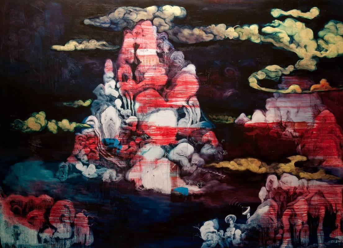 常陵|五花肉系列-肉宗教-祕境仙島|2009|油彩|145x200cm