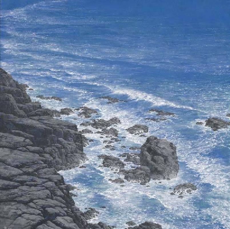 標題:逆浪尺寸:60*60 cm 年代:2019  材質:岩彩畫/紙