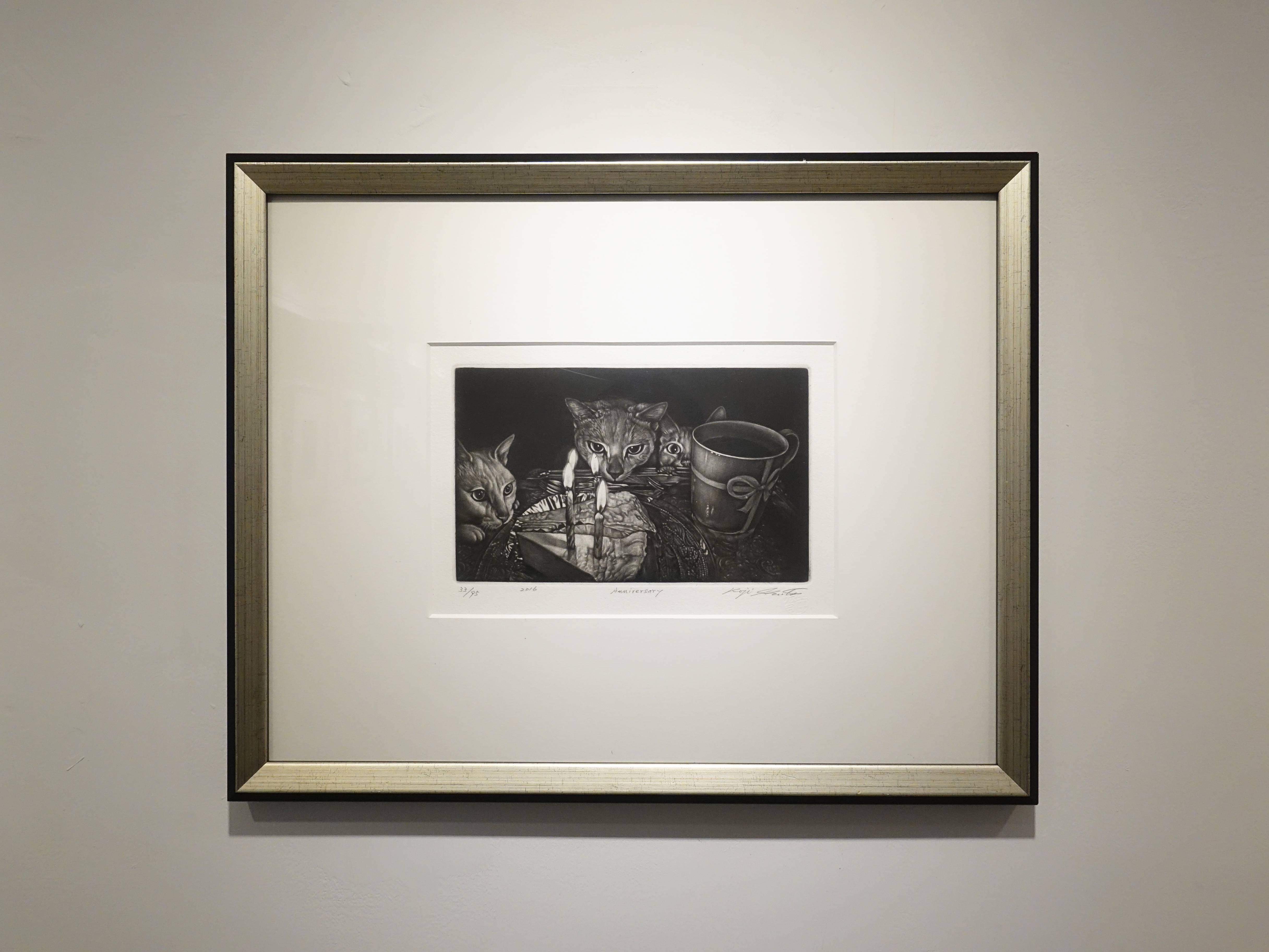 生田宏司,《慶生會》,美柔汀銅版,2016。