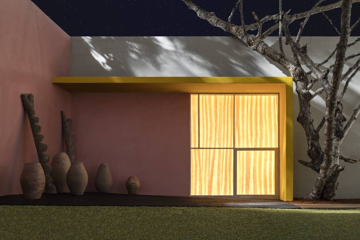 JAMES CASEBERE Yellow Overhang with Patio , 2016 framed archival pigment print mounted to D ibond paper: 44 3/8 x 66 1/2 inches (112.7 x 168.9 cm) framed: 47 x 69 3/16 x 2 1/4 inches (119.4 x 175.7 x 5.7 cm) edition of 5 with 2 APs © James Casebere Courte