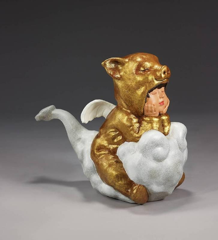 林國瑋│黃金聖豬寶│42x42x24cm│銅、油彩上色│2019