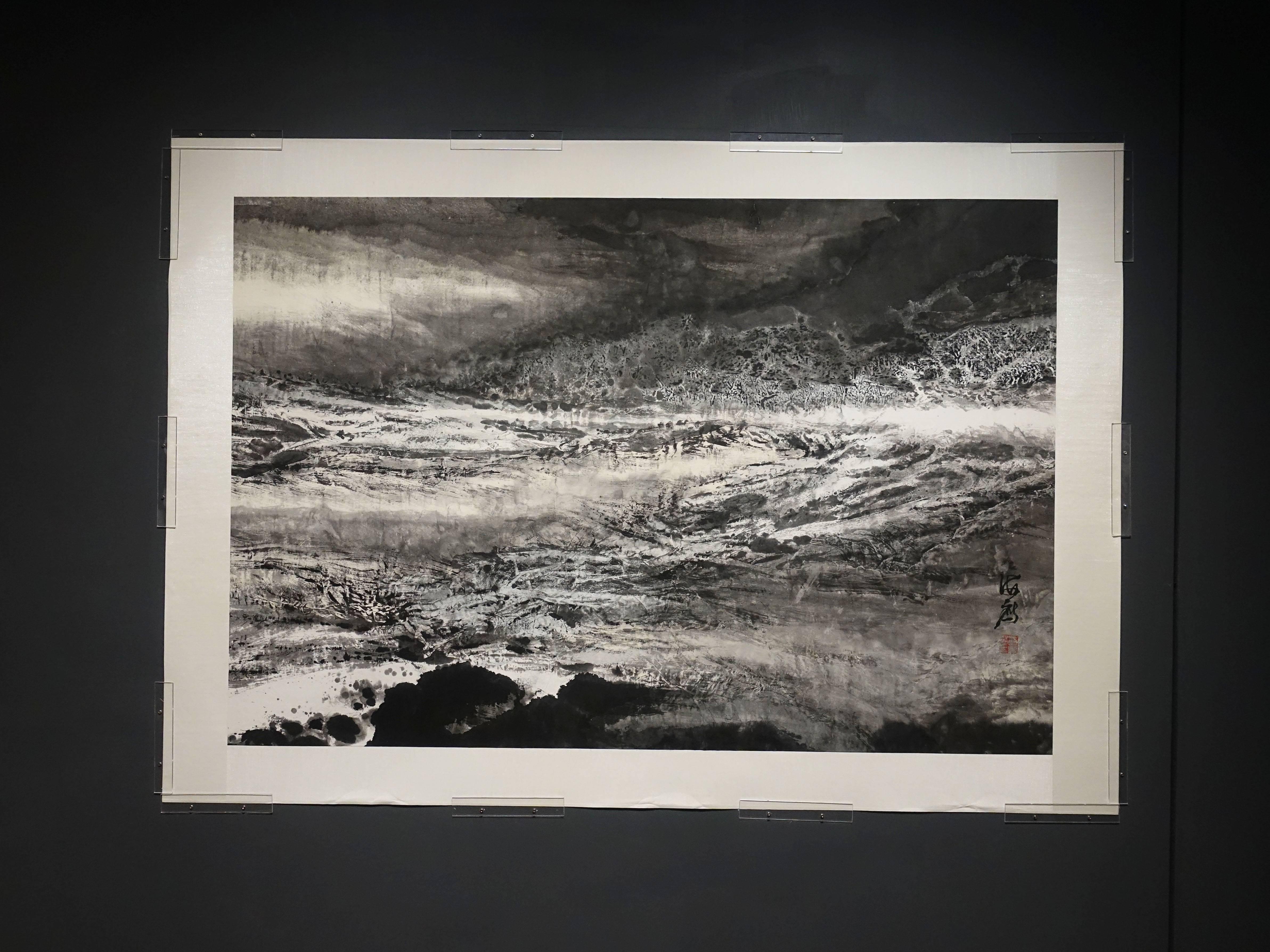 蔡海鷹,《濤聲依舊2》,設色紙本、拼貼,2018。