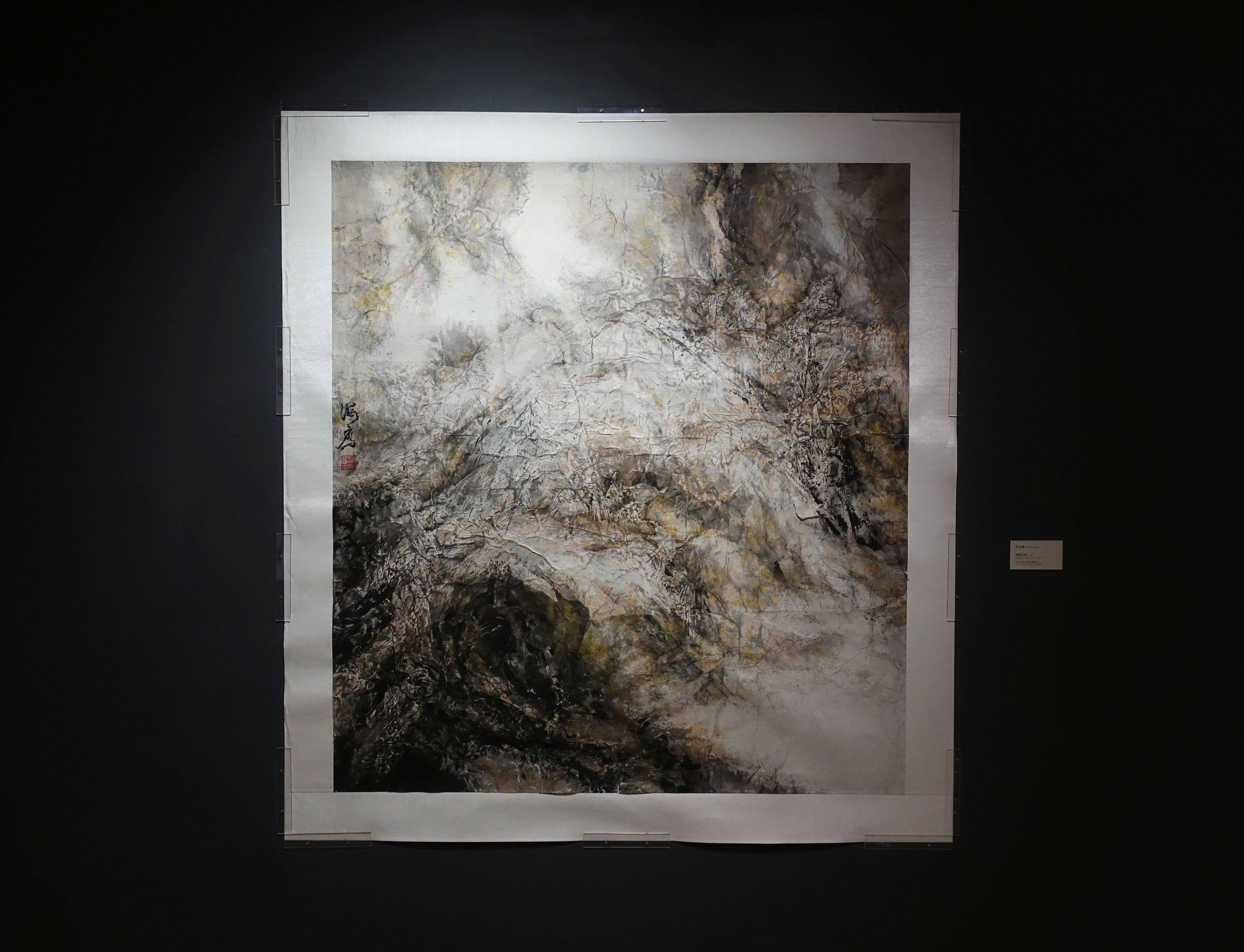 蔡海鷹,《濤聲依舊-1》,設色紙本、拼貼,2016。