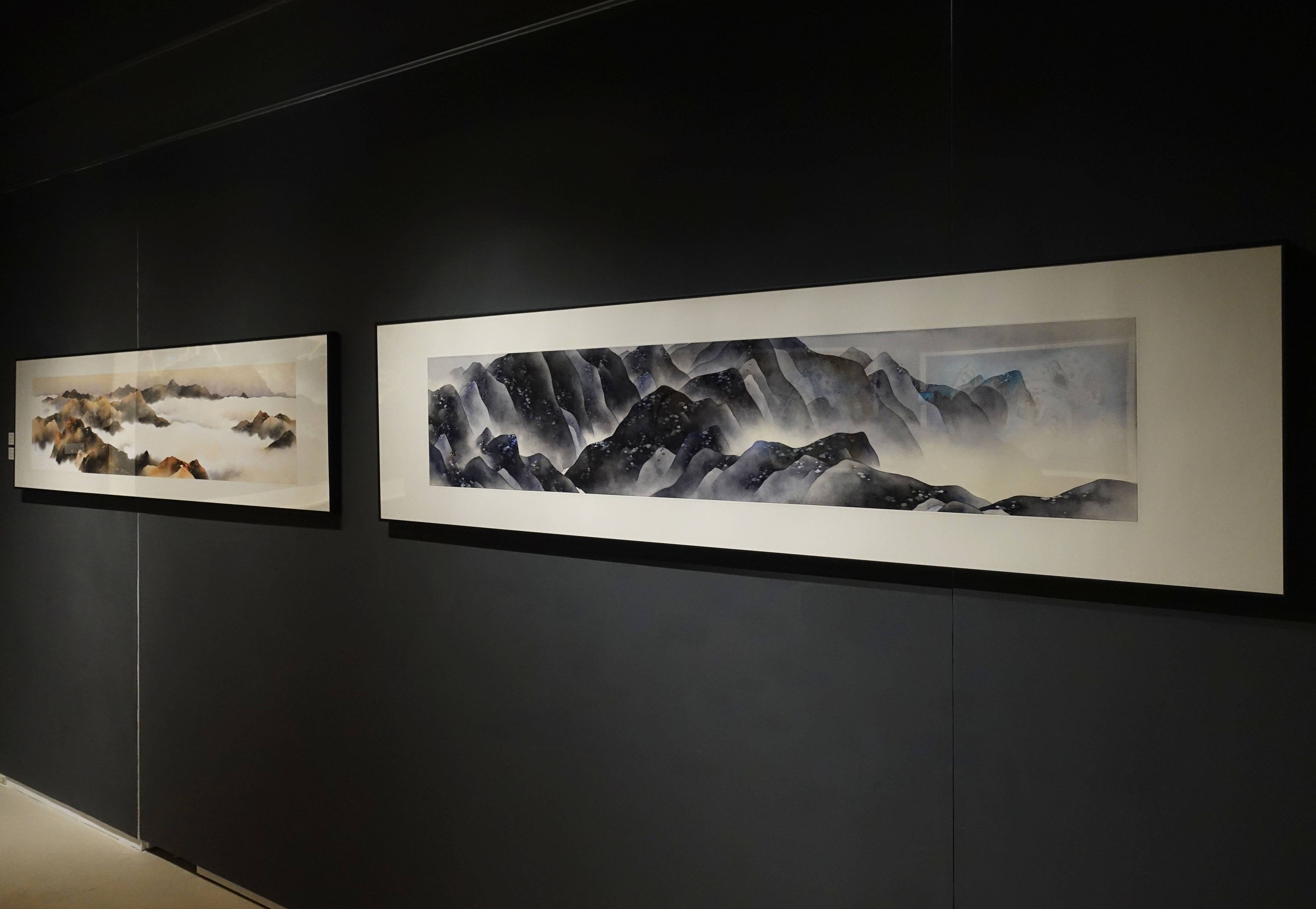 陳鏡田,《秋與雲平》《疑是滄海》,設色紙本,2015、2018。
