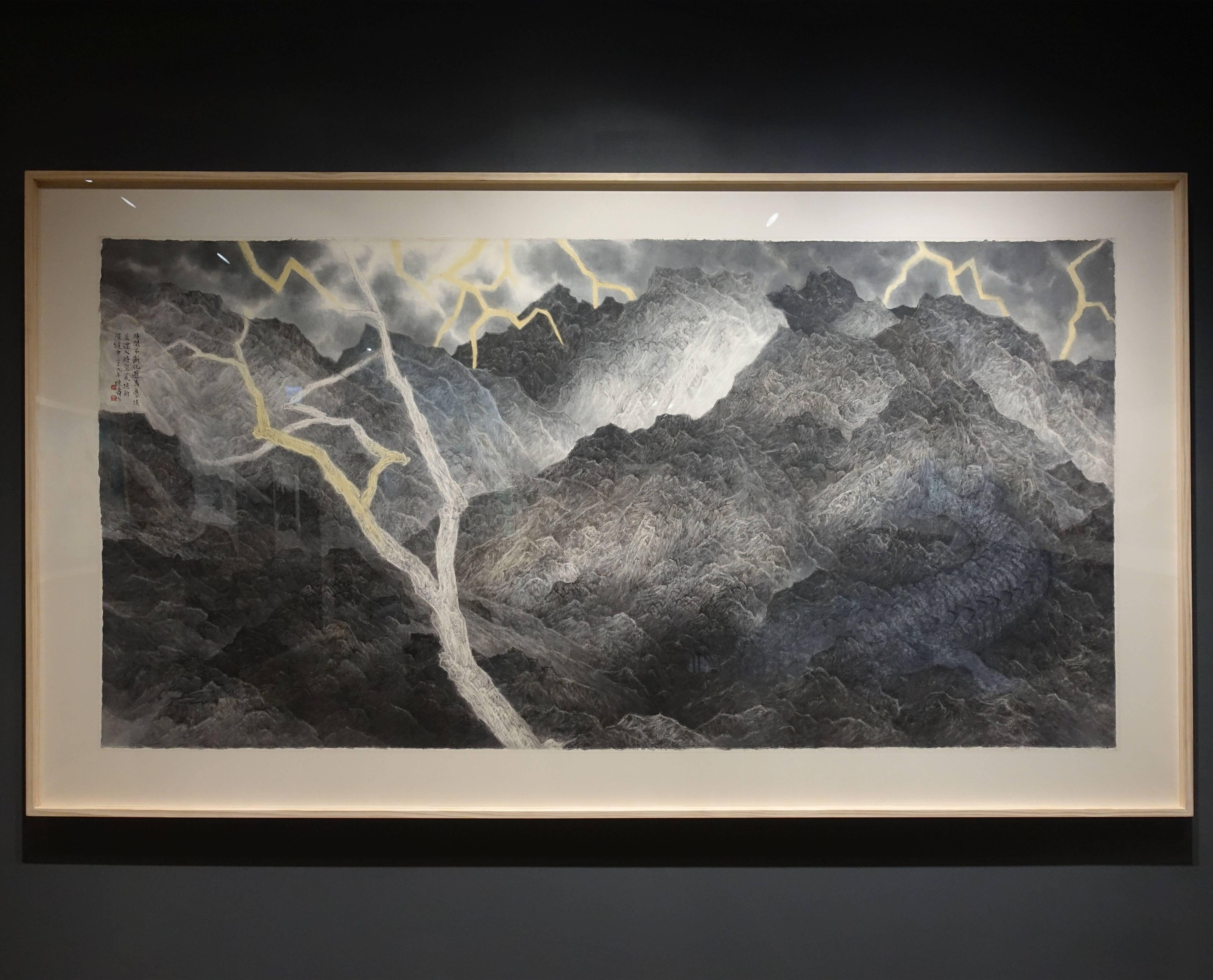 吳繼濤,《瞬逝的時光2》,設色紙本,2018。