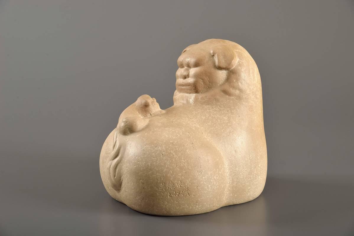 福獅  105  硃砂岩石  28×23×25cm -2019