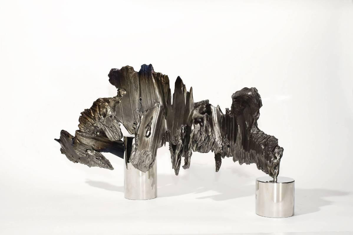 宋璽德 Sung Hsite_山水拓2018 Landscape Monotype 2018_鋼、不鏽鋼 Steel, stainless steel_83x30x42cm_2018