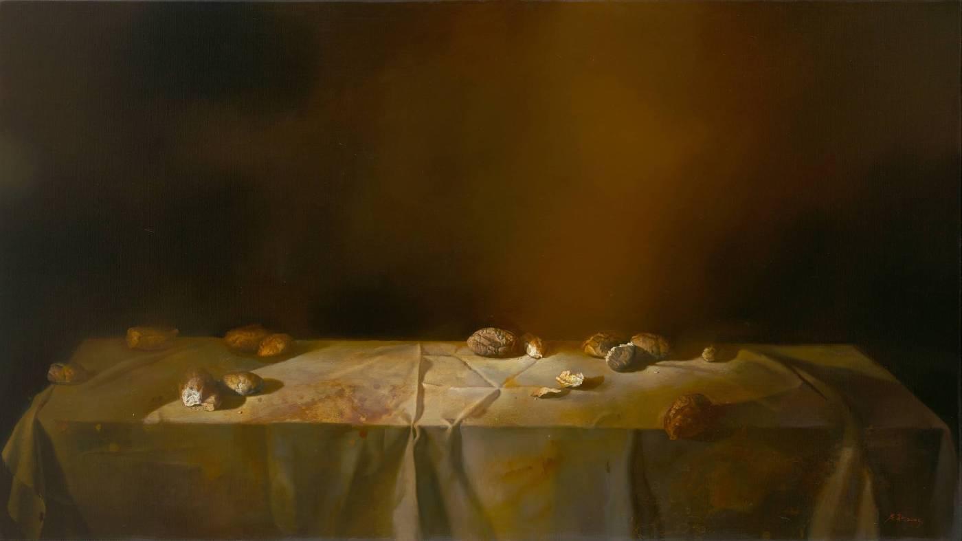 最後的晚餐Ⅰ,油彩、畫布,163 x 93 cm,2005,(私人收藏)。圖/毓繡美術館提供