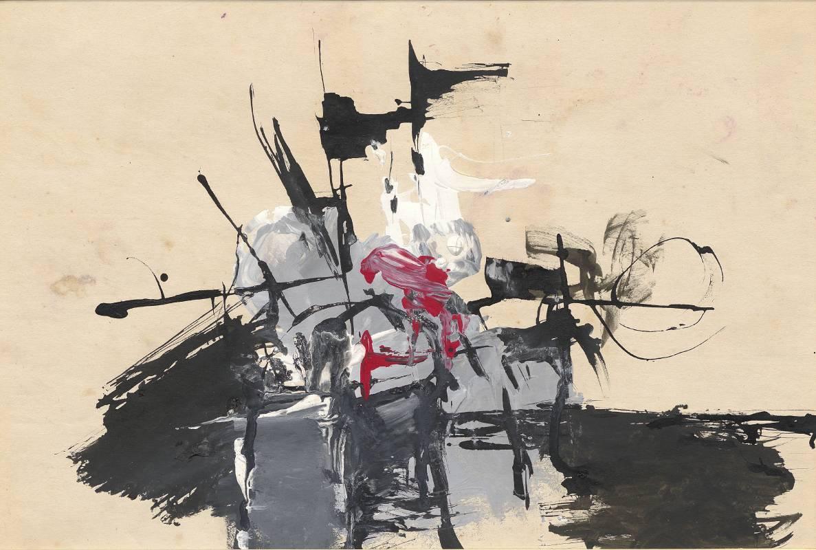 李仲生 Li Chun-Shan,〈LCS-048〉,水彩、水墨、紙本Watercolor and ink on paper,26x38cm