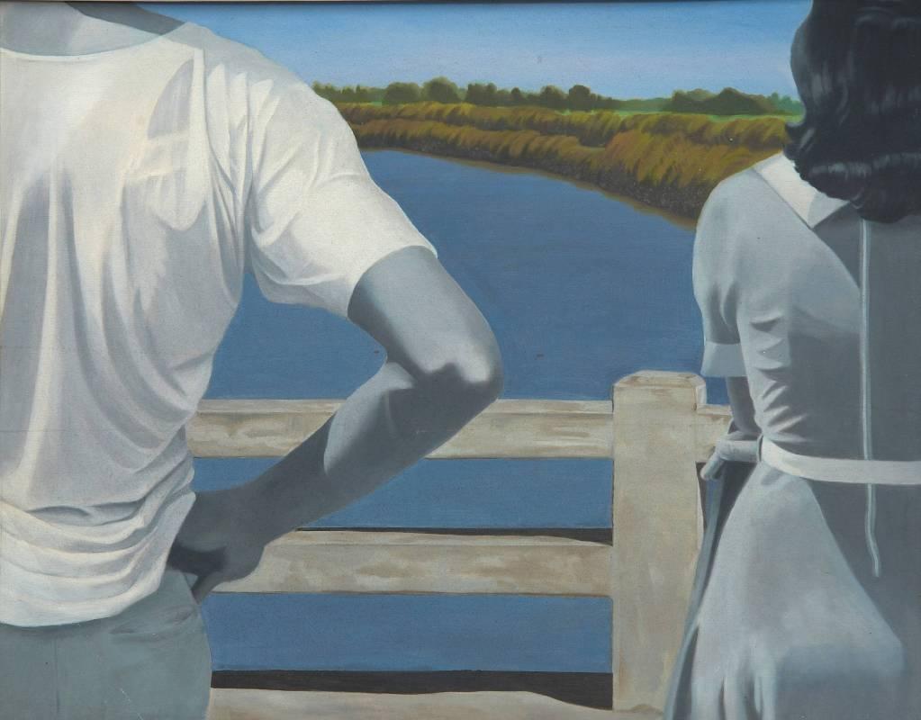 黃步青 Hwang Buh-Ching,〈洋子橋〉Yangzi Bridge,1977,油彩、畫布Oil on canvas,92x117cm