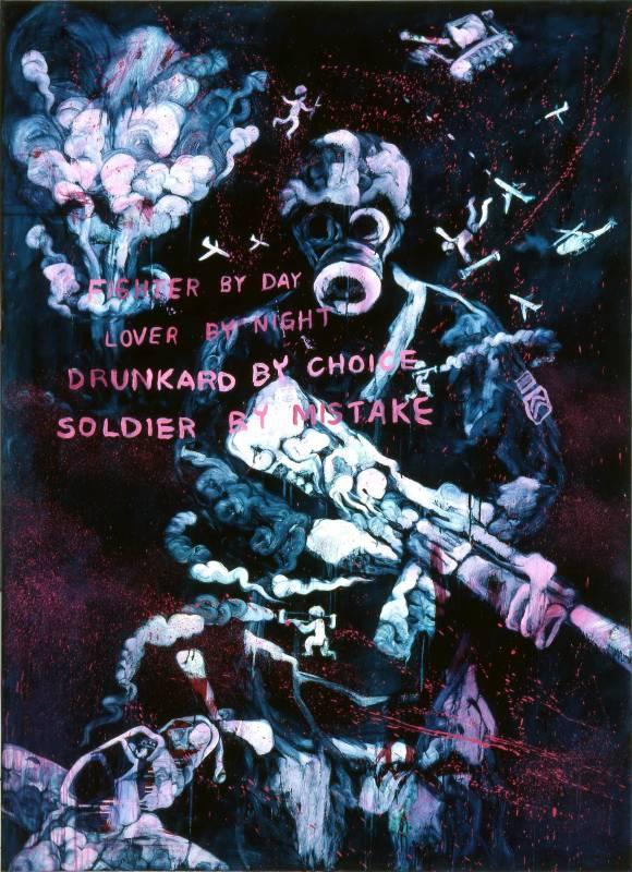 常陵|五花肉系列-肉兵器-士兵|2009|油彩|200x145cm