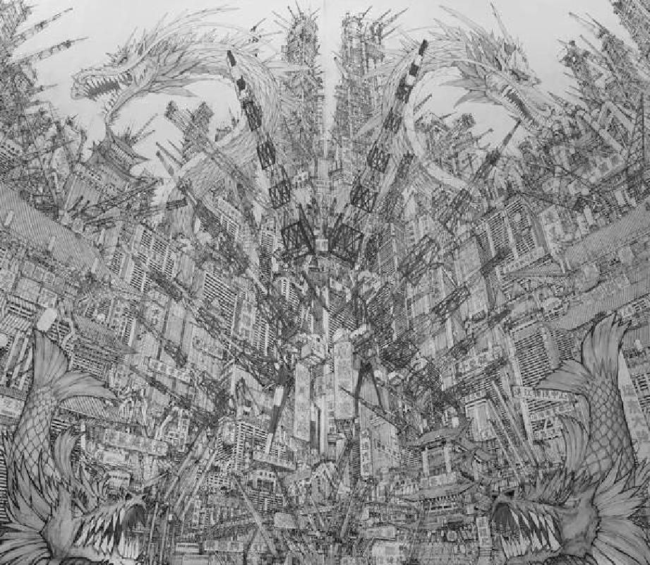 田島大介_ 遠東世界市_2018_鋼筆、肯特紙_190×220cm