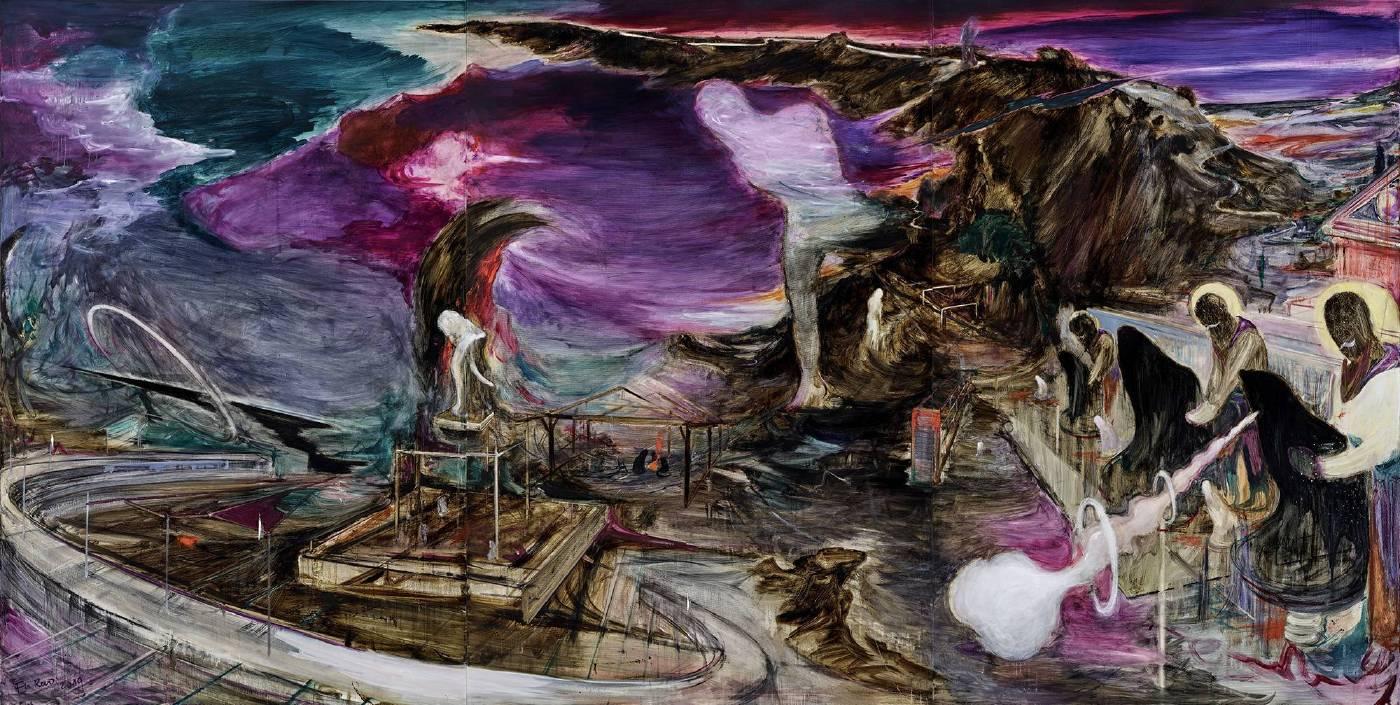《光年》  2019 油彩、綜合媒材、畫布  220 x 435 cm