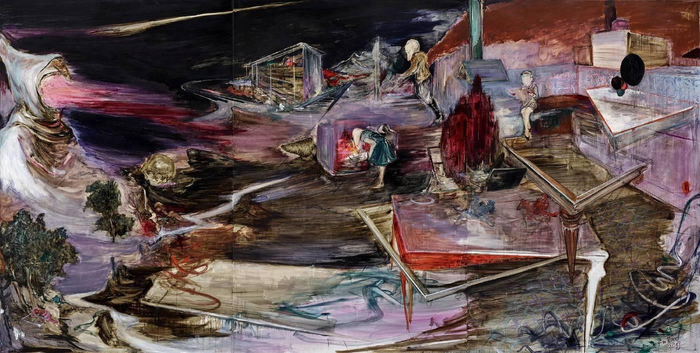 《離弦》   2019  油彩、綜合媒材、畫布  220 x 435 cm