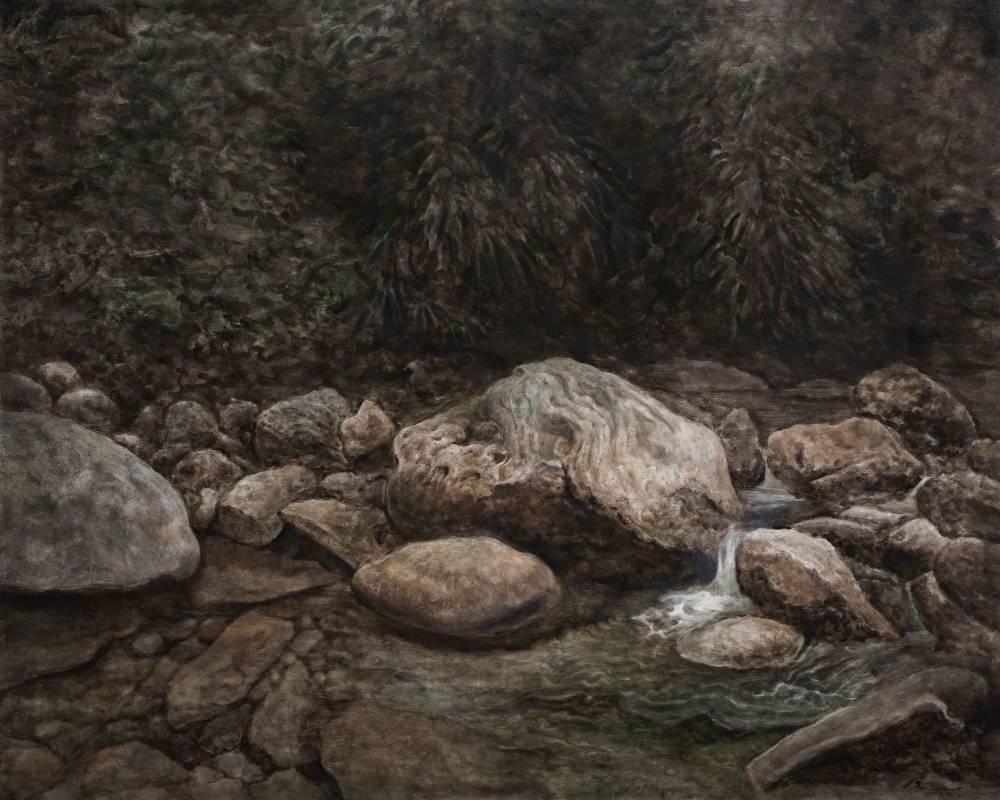 侯俊杰|上善若水·聽泉 NO.1|2018-19|布面油畫|114x146cm