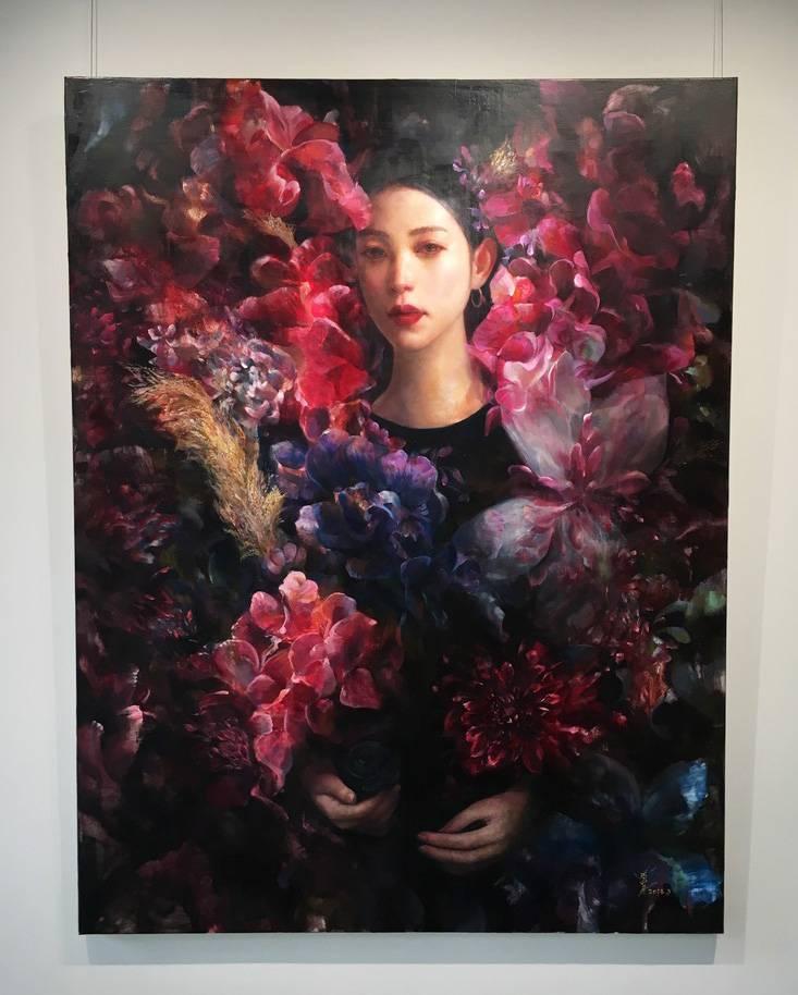 梁月,《網紅-之五》細節,146 x 112 cm,油彩,2019。