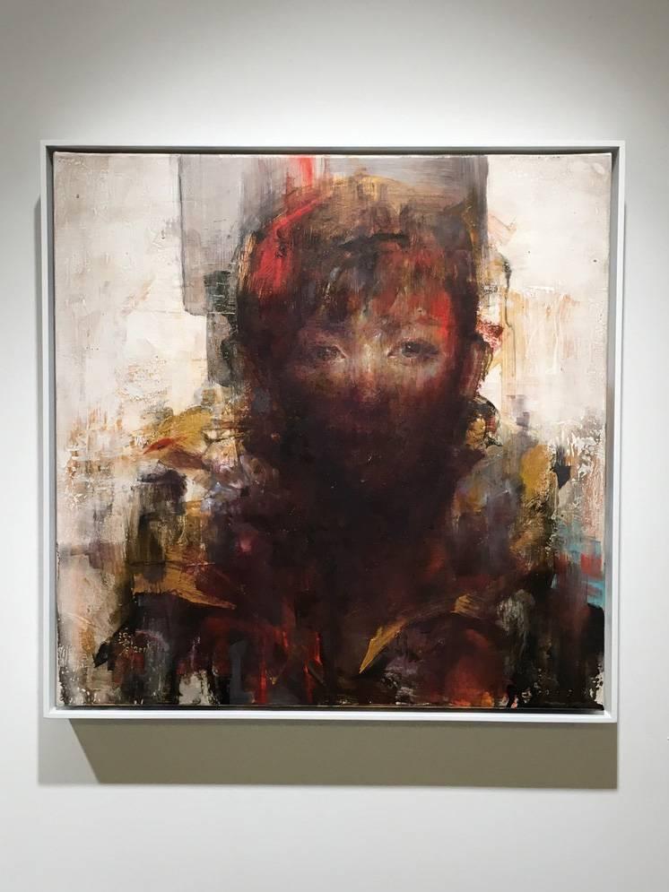 梁月,《微光非我1》,50 x 50 cm,複合媒材,2019。