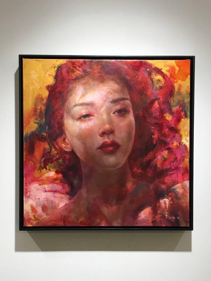 梁月,《微光非我3》,50 x 50 cm,複合媒材,2018。
