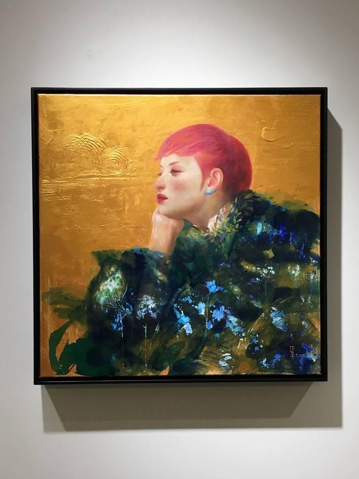 梁月,《文化.創新.平衡1》,50 x 50 cm,複合媒材,2018。