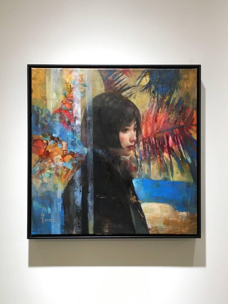 梁月,《文化.創新.平衡2》,50 x 50 cm,複合媒材,2019。