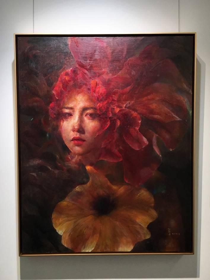 梁月,《網紅-之三》,91 x 72.5 cm,油彩,2019。