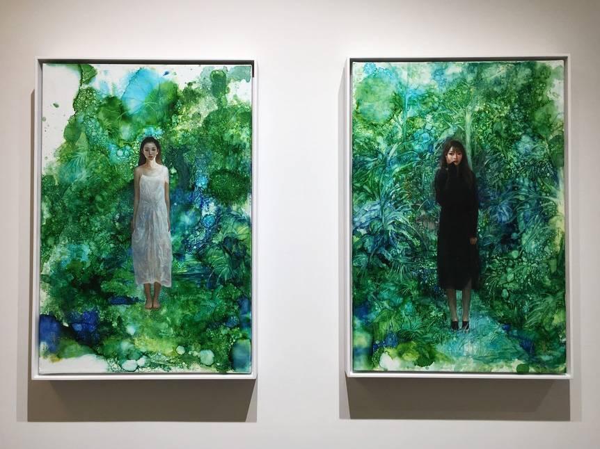 梁月,《活在虛擬世界》系列作品,60.5 x 41 cm,複合媒材,2019。