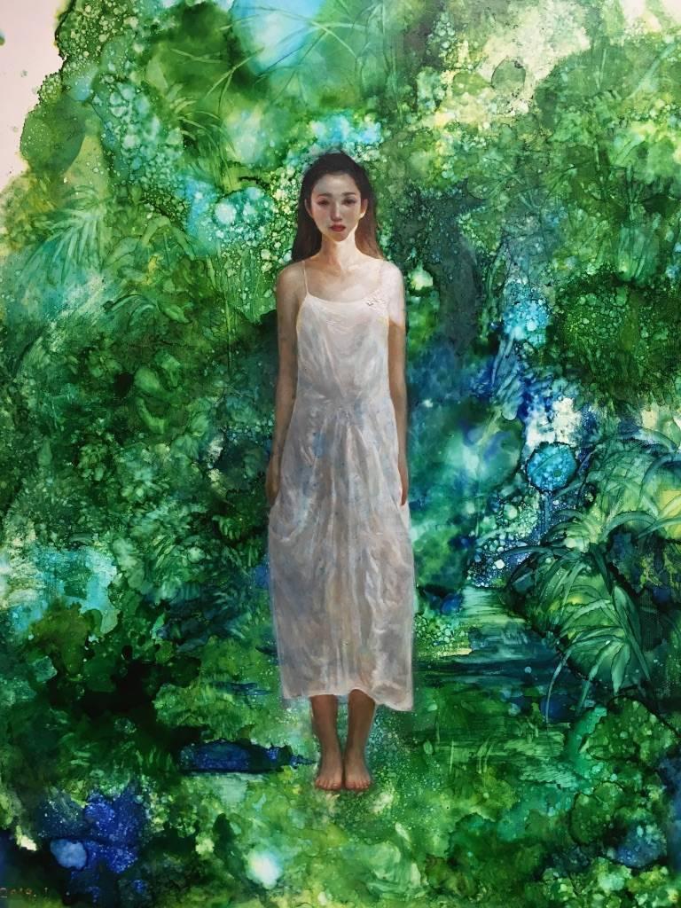 梁月,《活在虛擬世界1》細節,60.5 x 41 cm,複合媒材,2019。
