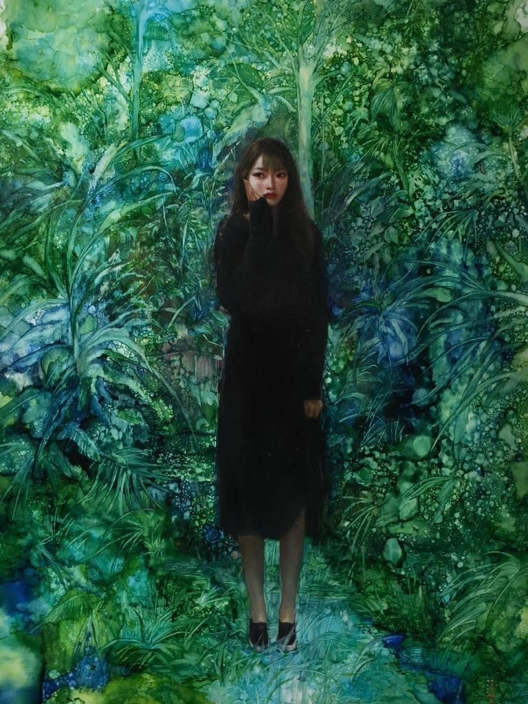 梁月,《活在虛擬世界2》細節,60.5 x 41 cm,複合媒材,2019。