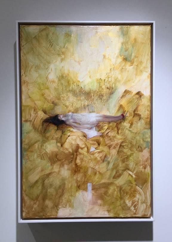 梁月,《生命在虛幻中流失》,60.5 x 41 cm,油彩,2018。