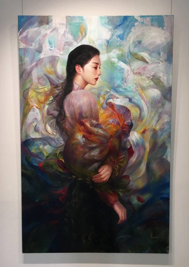 梁月,《花開花謝》,177 x 112 cm,油彩,2019。