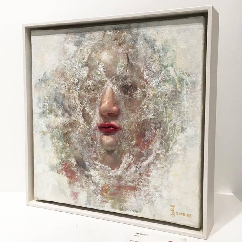 梁月,《隱藏自己》,30 x 30 cm,複合媒材,2018。