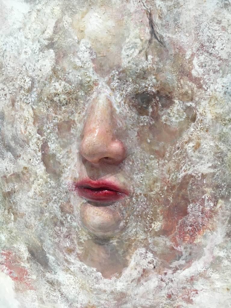 梁月,《隱藏自己》細節,30 x 30 cm,複合媒材,2018。