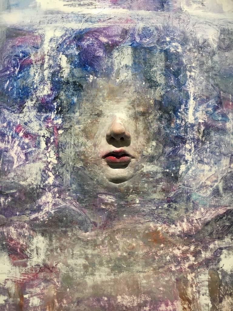 梁月,《隱藏自己2》細節,72.5 x 50 cm,複合媒材,2018。