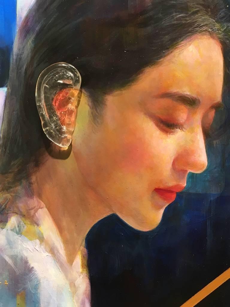梁月,《聽不到真實1》細節,30 x 30 cm,複合媒材,2019。
