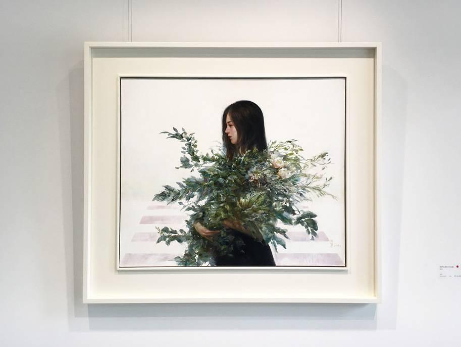 梁月,《我們在資訊中找出路》,60.5 x 72.5 cm,油彩,2019。