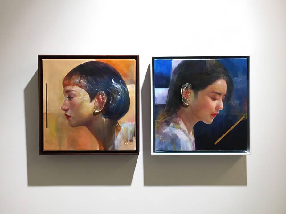 梁月,《聽不到真實》系列,30 x 30 cm,複合媒材,2019。