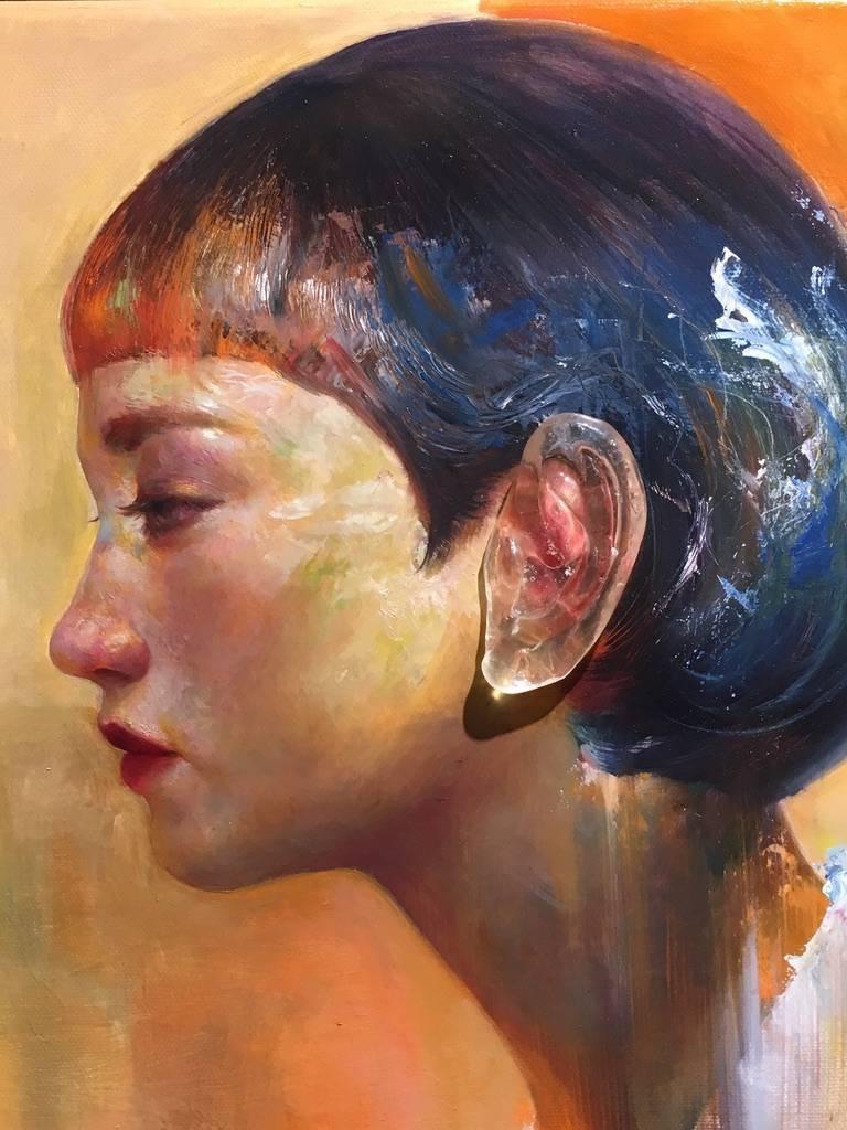 梁月,《聽不到真實2》細節,30 x 30 cm,複合媒材,2019。