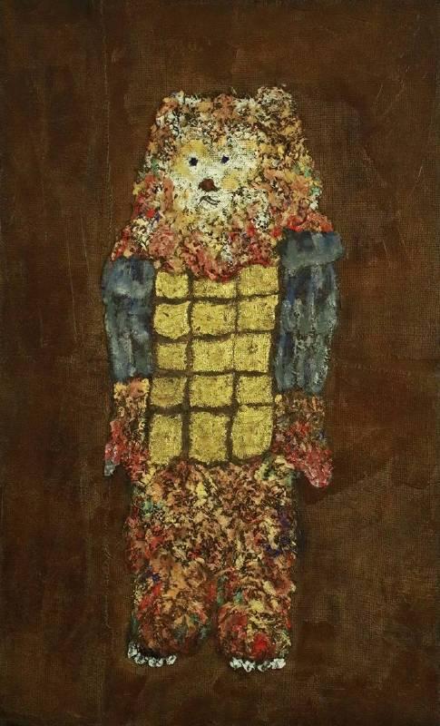 夏愛華_光之守護者—強度平面_H123×W75×D6 cm_木板、生漆、麻布、岩彩_2019