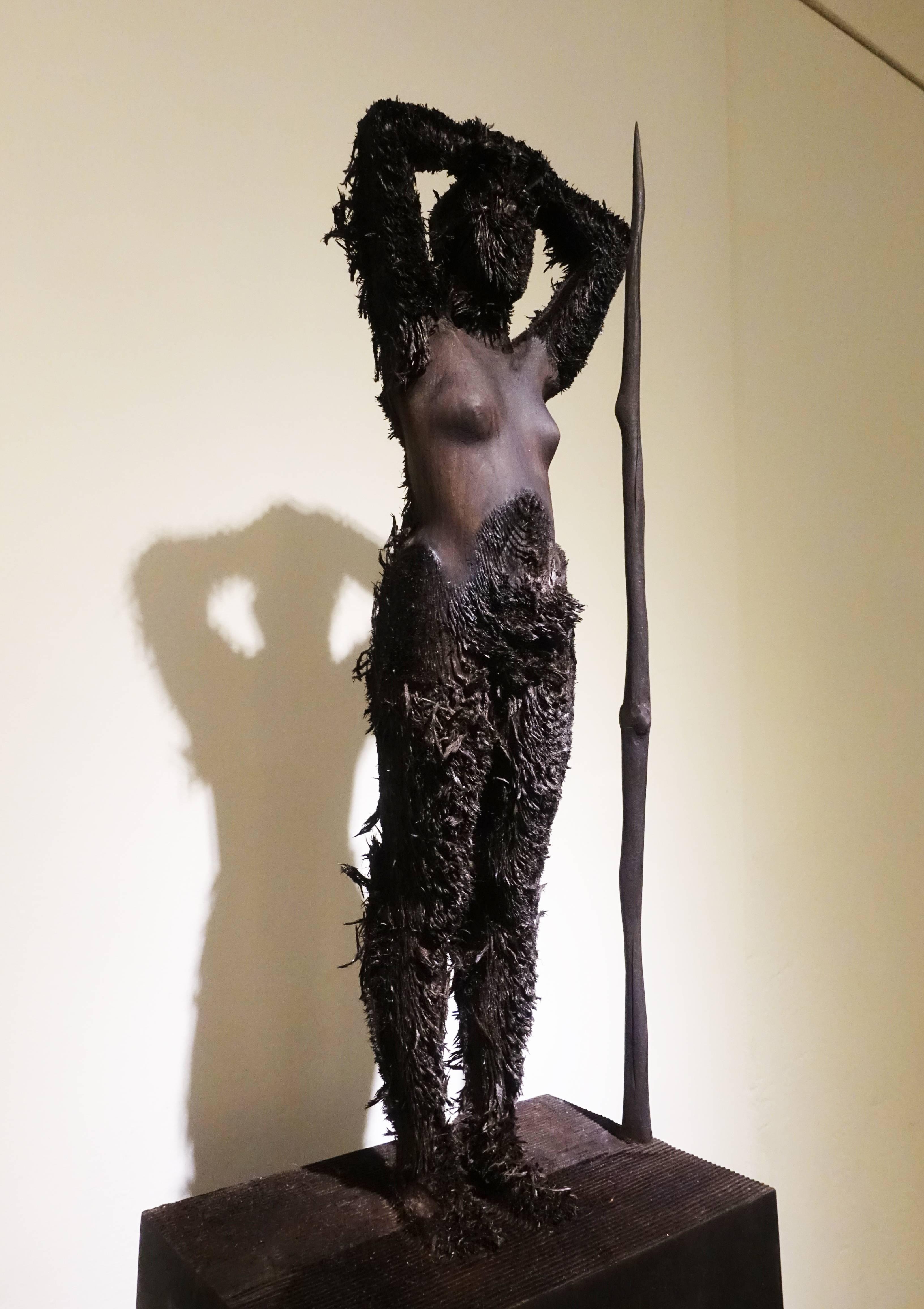 艾倫.德梅茲,《Bozzetto Burning Man》,55 x 19 x 12 cm ,Limewood椴木,2014。