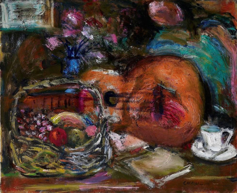 張萬傳,室內吉他與花果,油彩,12F。
