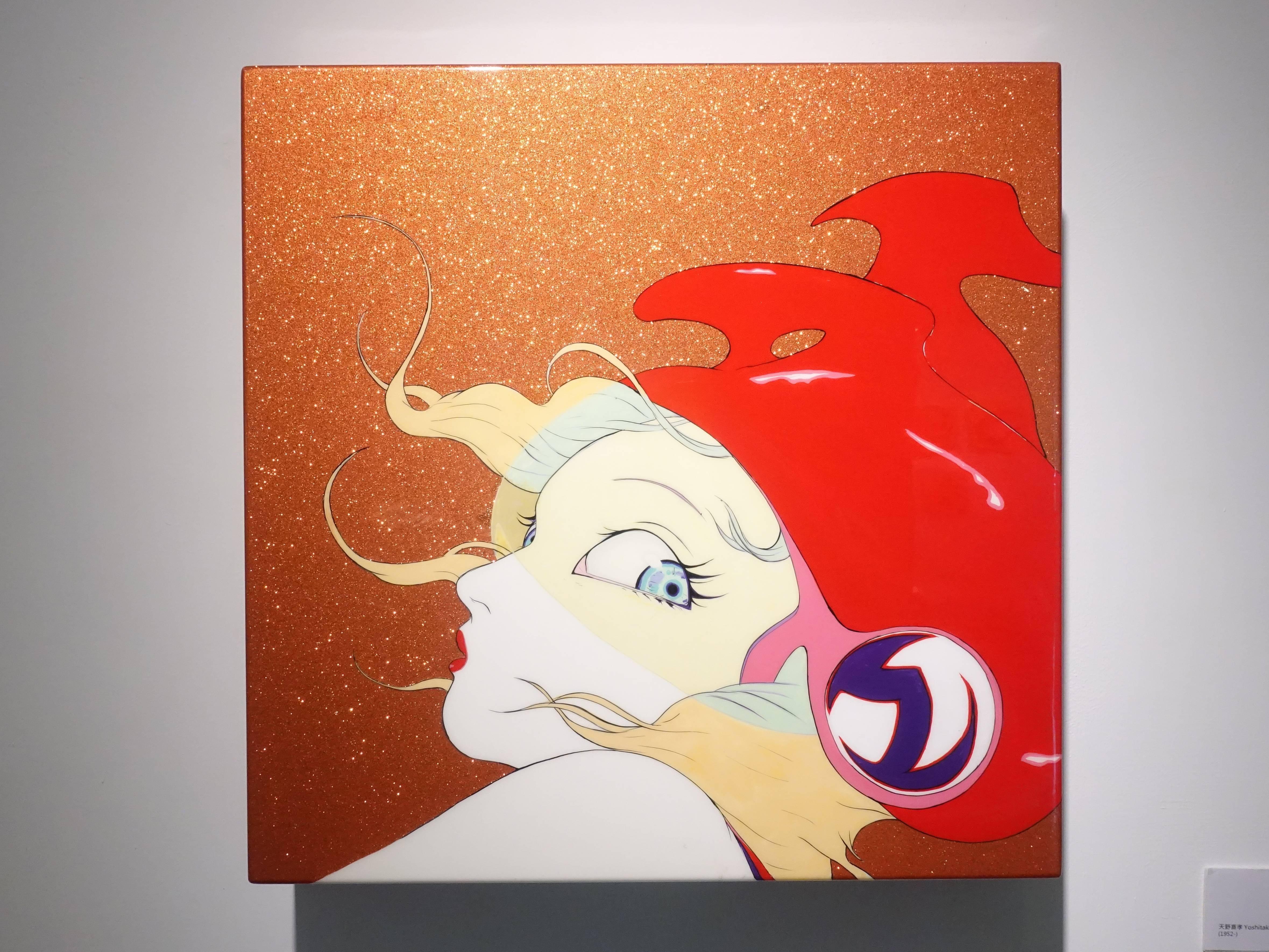 天野喜孝,《甜心女孩S-9》,50 x 50 x 10 cm,汽車烤漆、鋁板,2008。
